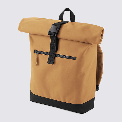 Roll-top backpack camel