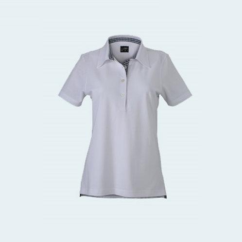 Damenpolo Karo Optik white/navy/white