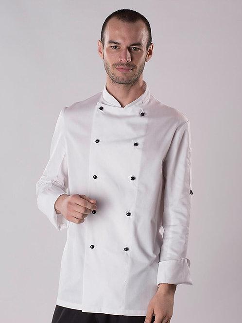 Kochjacke Langarm weiss mit schwarzen Knöpfen