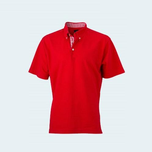 Herrenpolo Karo Optik red/red-white