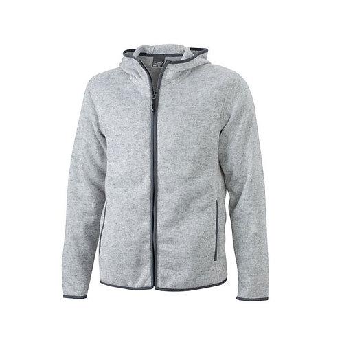 Herren Strickfleece Jacke light-melange/carbon