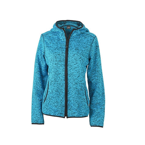 Damen Strickfleecejacke blue-melange/black