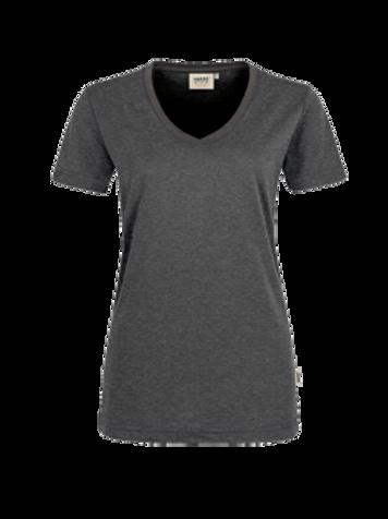 T-Shirt V-Hals anthrazit meliert for women