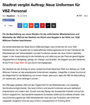 Bericht über VBZ-Uniformen auf Bahnonline.ch
