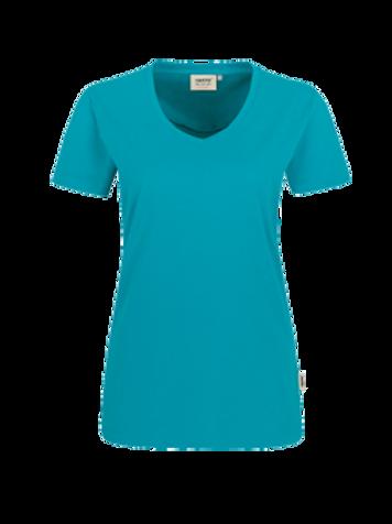 T-Shirt V-Hals smaragd for women