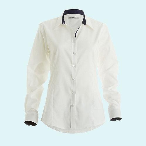 Women's contrast premium Oxford shirt long sleeved white/navy