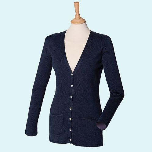 Women's v button cardigan navy