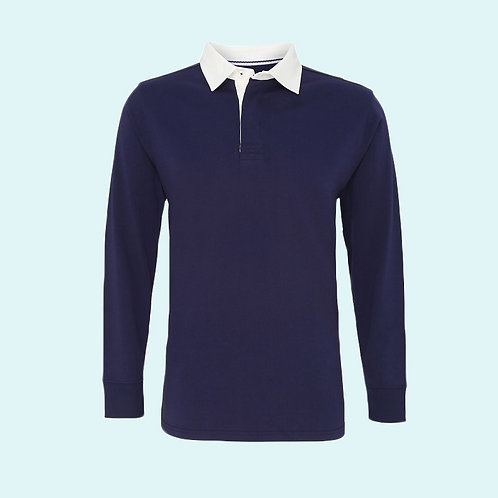 Men's classic fit long sleeve vintage rugby shirt navy