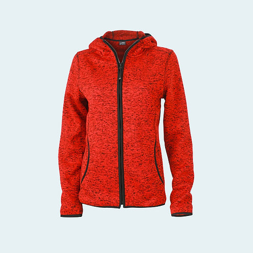Damen Strickfleecejacke red-melange/black AC