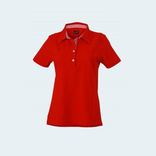 Damenpolo Karo Optik red/red-white