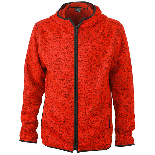 Herren Strickfleece Jacke red-melange/black