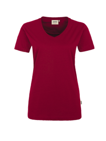 T-Shirt V-Hals weinrot for women