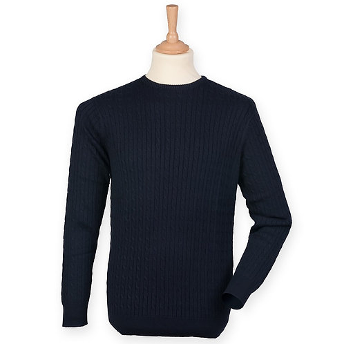 Cable crew neck jumper navy