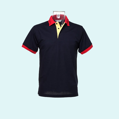 Contrast collar and placket polo navy sun yellow pkt red trim