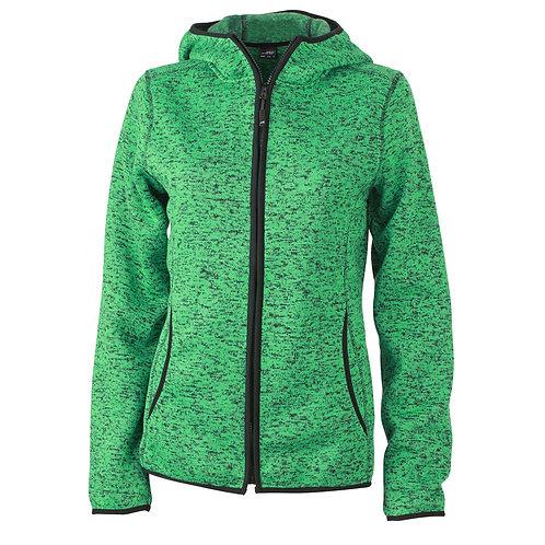 Damen Strickfleecejacke green-melange/black
