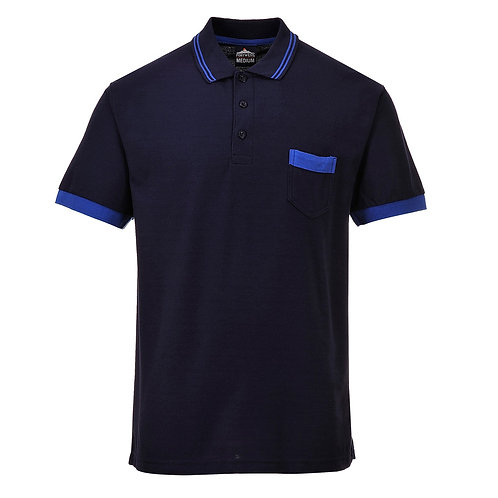 Kontrast Polo-Shirt navy