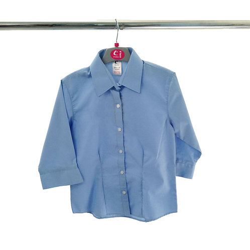 Fitted Non Iron Blouse with 3/4 sleeve blue