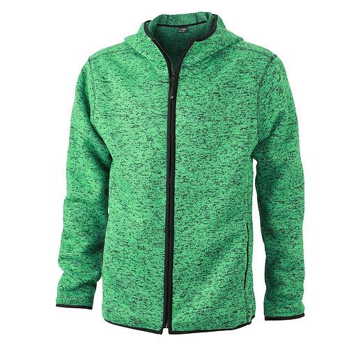 Herren Strickfleece Jacke green-melange/black