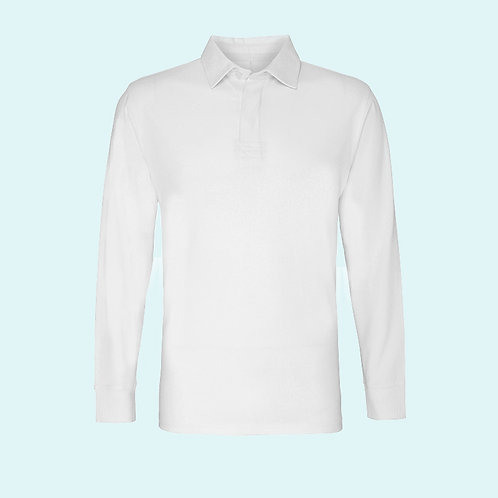 Men's classic fit long sleeve vintage rugby shirt white