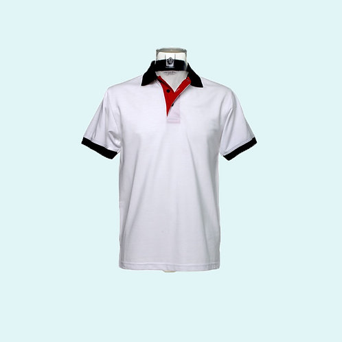 Contrast collar and placket polo white red pkt navy trim