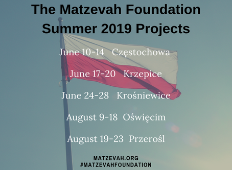 The Matzevah Foundation Announces 2019 Projects