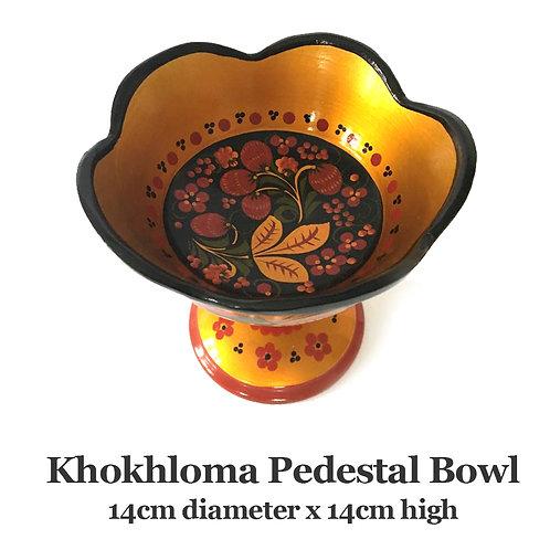 Russian Khokhloma Pedestal Bowl