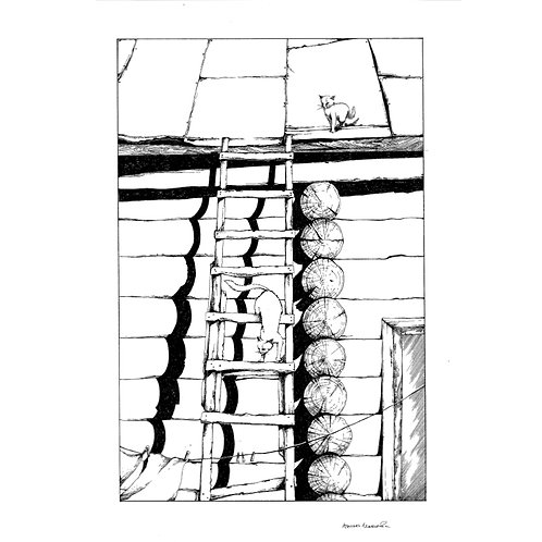 Cat on Ladder (unframed)