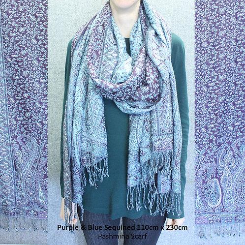Purple & Blue Sequined Pashmina