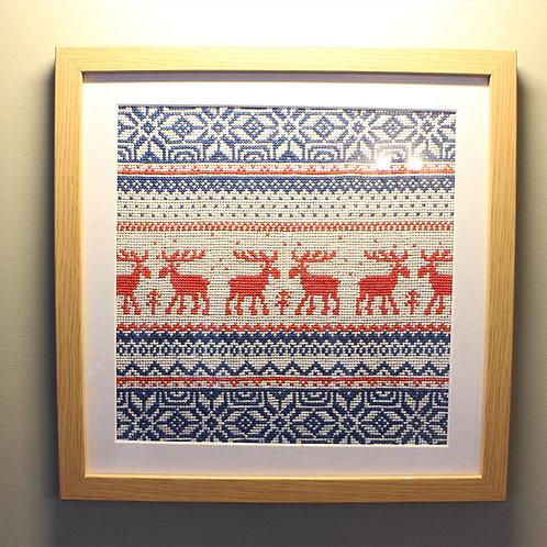 'Scandinavian Embroidery Red Deer' by Natasha