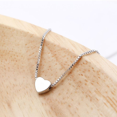 Heart necklace Sliver plated