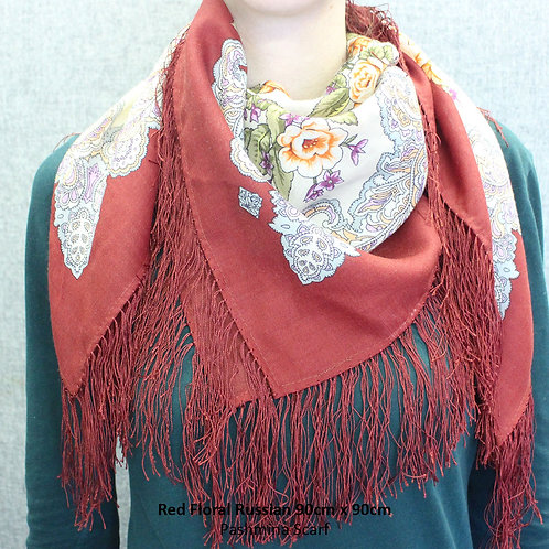 Red Floral Russian Pashmina