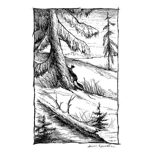 Fox Climbing Tree (unframed)