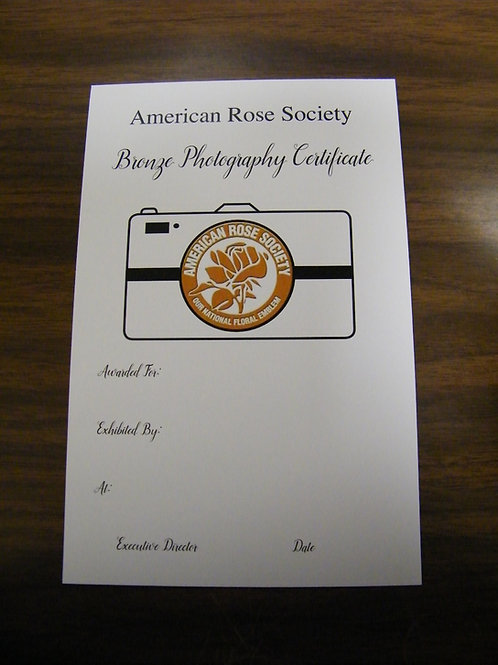 Photography Certificate Bronze
