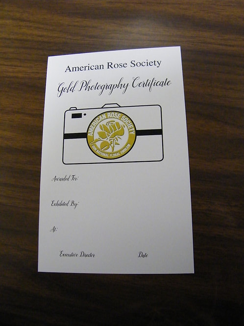 Photography Certificate Gold