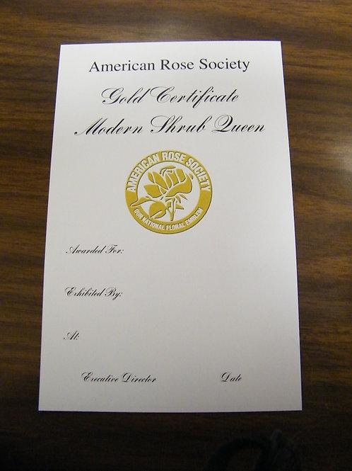 Modern Shrub Certificate Gold