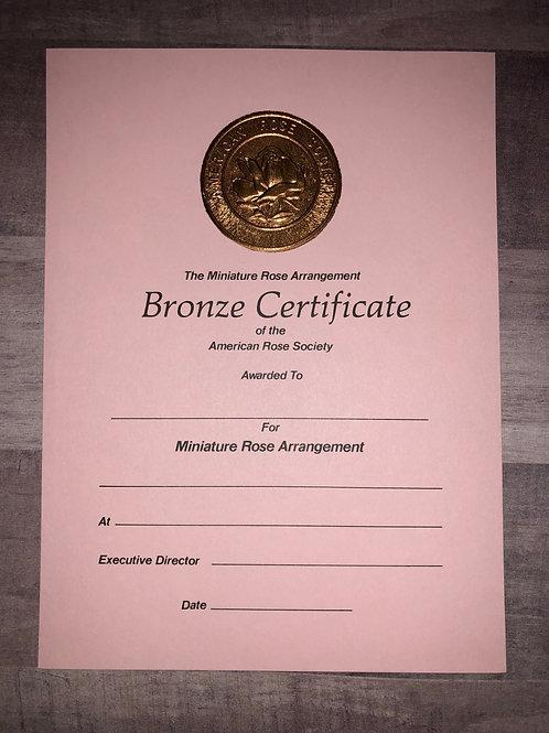 Miniature Arrangements Certificate Bronze