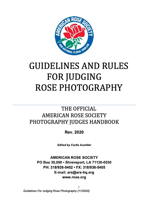 JUDGES MANUAL FOR PHOTOGRAPHY