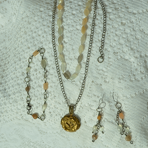 Moonstone Set with Pyrite Rose