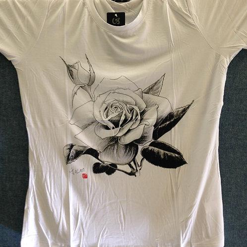 Chen Yuhua T-Shirt Style 4 (Black & White Rose)
