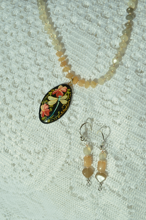 Moonstone Set with Hand-Painted Stone