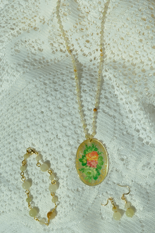 Italian Onyx Set with Hand-Painted Mother of Pearl Rose