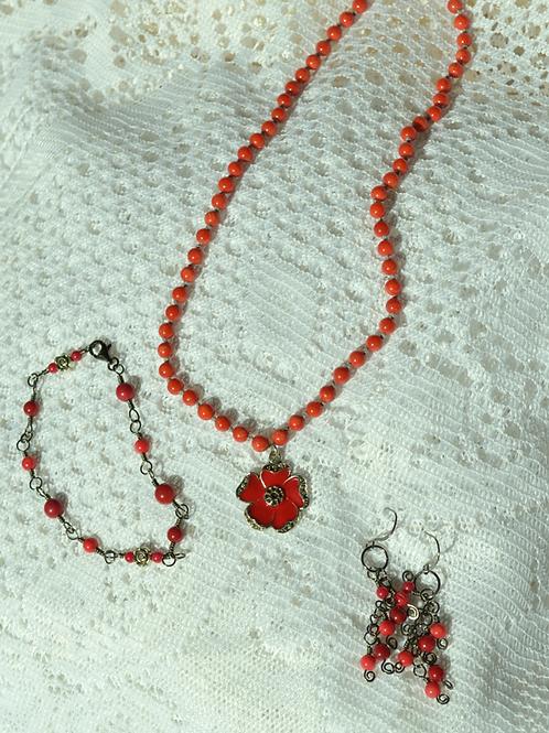 Red Coral Set with a Red Enameled Rose