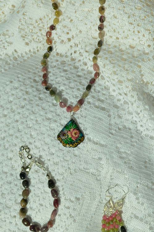 Tourmaline Set with Hand-Painted Rose Pendant