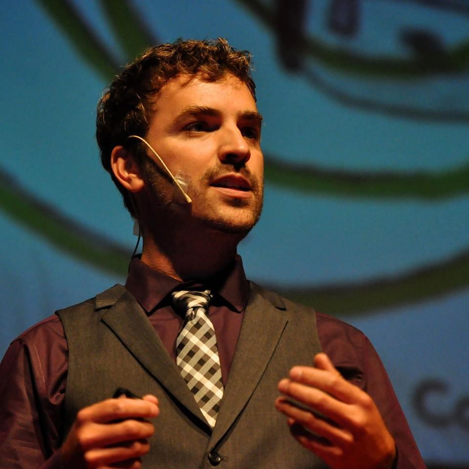 Sheldon Drobot giving a TEDx Talk, photo courtesy Sheldon Drobot.