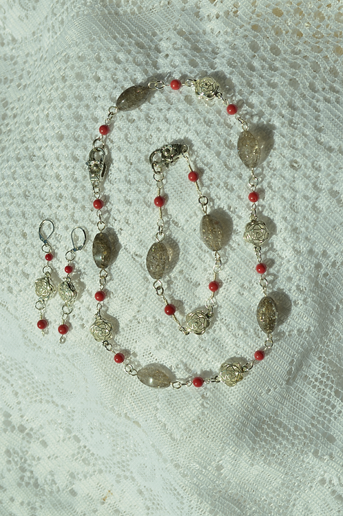 Red Coral & Crackled Quartz Set with Rose Themed Links
