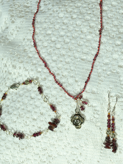 Garnet Set with Silver-Tone Small Rose