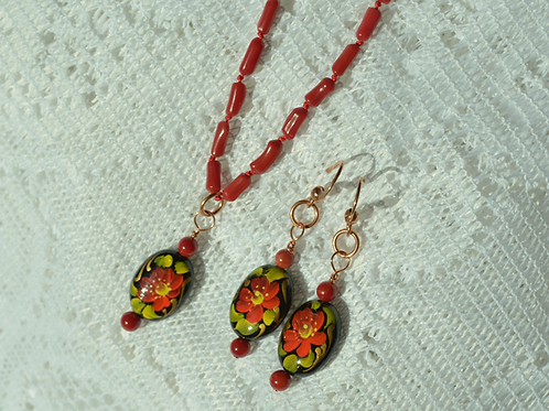 Red Coral Set with Hand-Painted Agate Beads