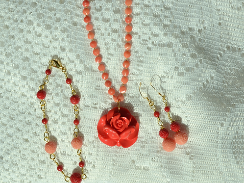 Apricot Coral Set with Acrylic Rose