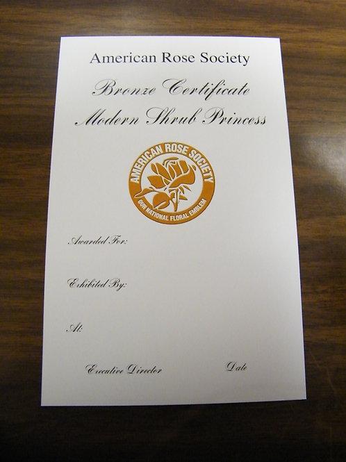 Modern Shrub Certificate Bronze