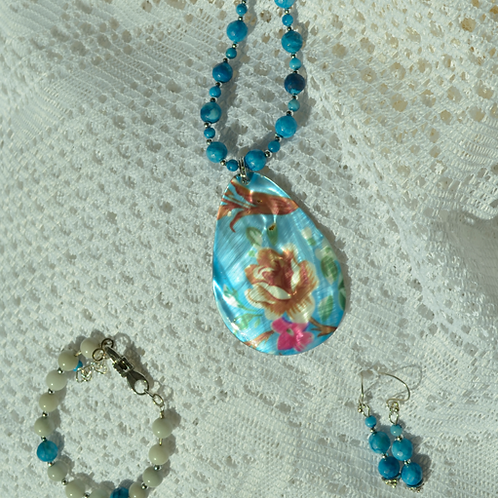 Blue Crazy Lace Agate Set with Mother of Pearl Rose
